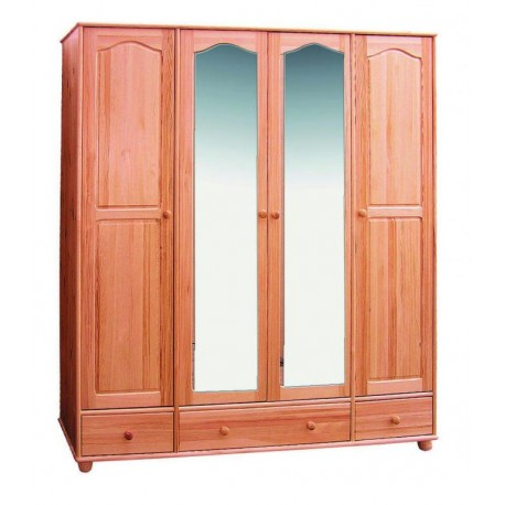 WOODEN FURNITURE PINE WARDROBE 4D IV / 3S