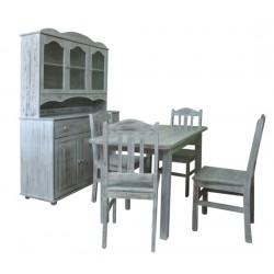 Komplet przecierany (kredens/stół/4 krzesła)